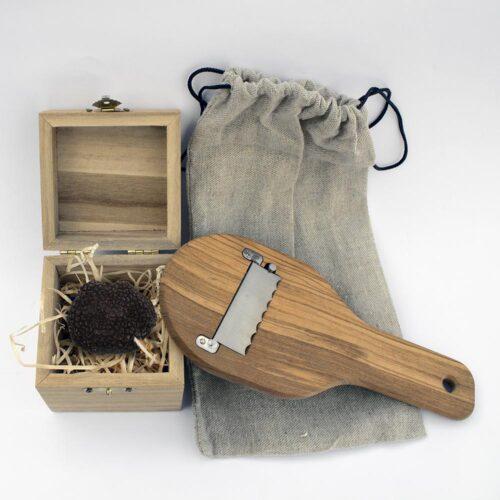 box degustazione tartufo bianco nero e affetta tartufi in legno